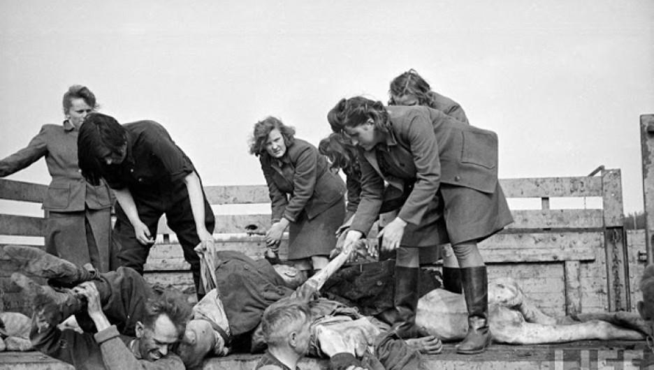 Женский состав охраны концлагеря разгружает грузовики с телами.
