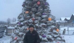 Анатолий Филиппов из Якутии изваял фигуру елки к Новому году-2018.