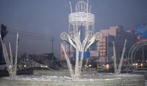Новогодние световые фонтаны в Барнауле.