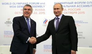 Президент МОК Томас Бах и президент РФ Владимир Путин.