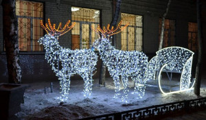 В Барнауле установили светящиеся сани с оленями.