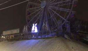 В Барнауле колесо обозрения украсили световыми фигурами.