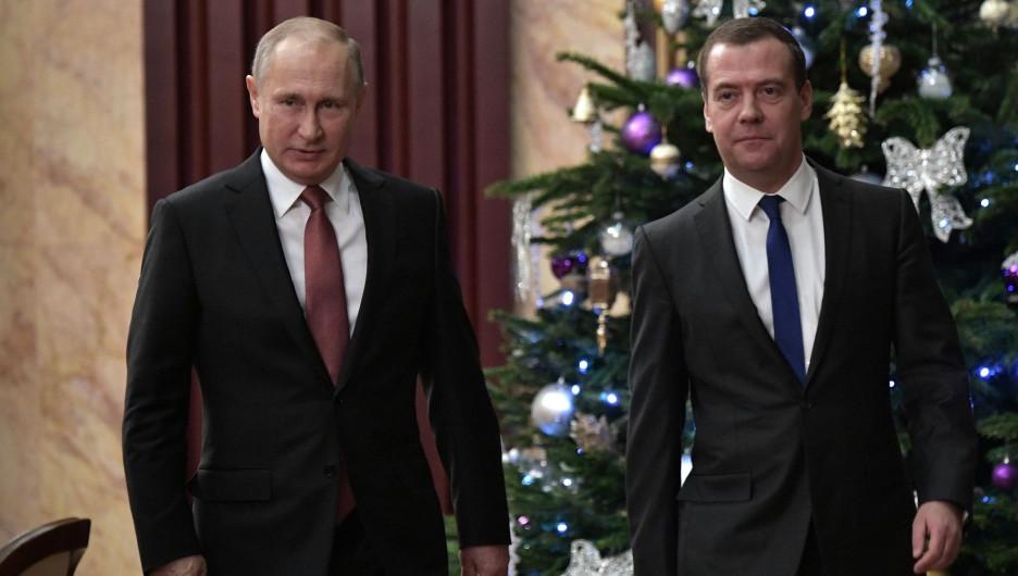 Президент РФ Владимир Путин и премьер-министр Дмитрий Медведев.