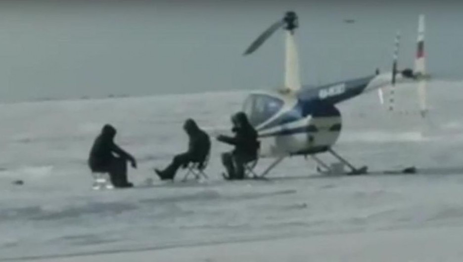 Рыбалка с вертолетом.