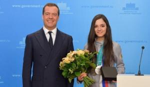Дмитрий Медведев и серебряная медалистка Игр-2018 Евгения Медведева.
