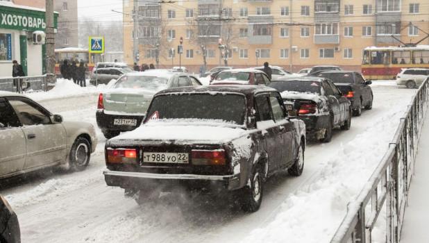 Снегопад в Барнауле.