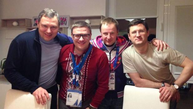Александр Новак (крайний справа), Виктор Томенко и рядом с ним слева Алексей Текслер.