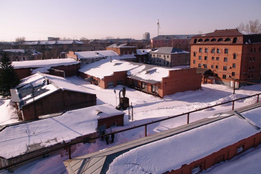 Историческая зона БЛВЗ после покупки. Фактически осталось одно здание слева. Его очистили от белого силикатного кирпича.