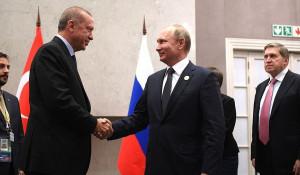 Владимир Путин с президентом Турции Реджепом Тайипом Эрдоганом.