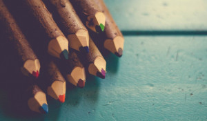 Школа. Цветные карандаши