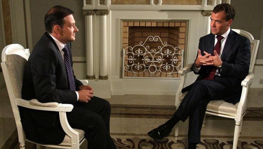 Телеведущий Сергей Брилев и Дмитрий Медведев, 2010 год.