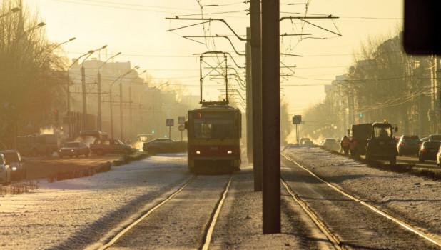 Мороз. Трамвай. Барнаул.