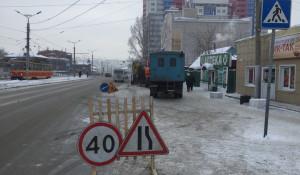 Порыв водопровода в Барнауле.