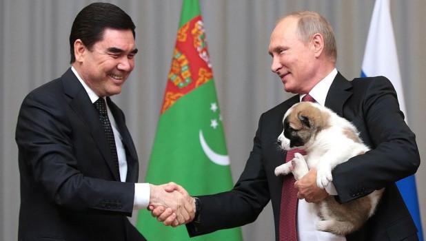 Президент Туркменистана Гурбангулы Бердымухамедов подарил Владимиру Путину щенка алабая.
