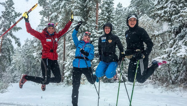 Российские биатлонистки в Белокурихе.
