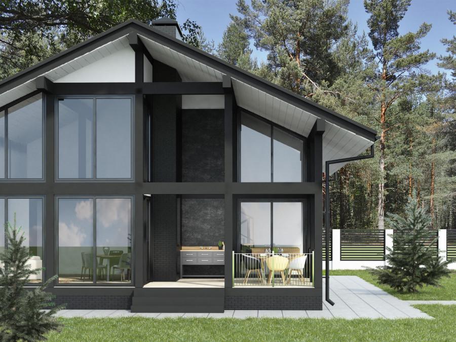 Проект двухэтажной бани с террасой и пристроенным техблоком.