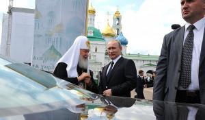 Владимир Путин с патриархом Кириллом в Сергиевом Посаде, 2014 год.