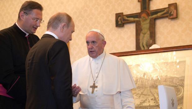 Владимир Путин в Ватикане у Папы Римского.