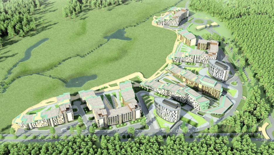 Проект застройки квартала на искусственном участке на пруду Лесном в Барнауле.