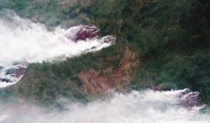 Лесные пожары в Красноярском крае, съемка из космоса.