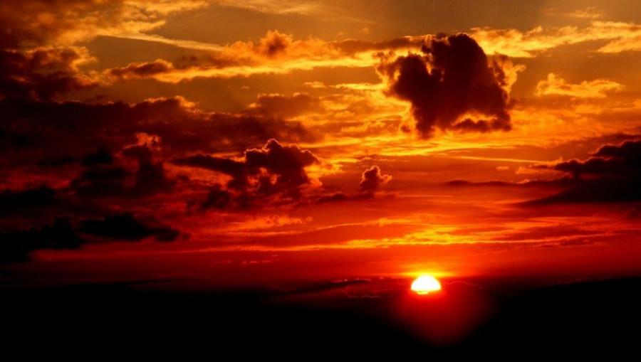 Солнце, закат.