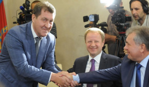 Сергей Дугин, Виктор Томенко и Александр Романенко. 16 августа  2019 года.