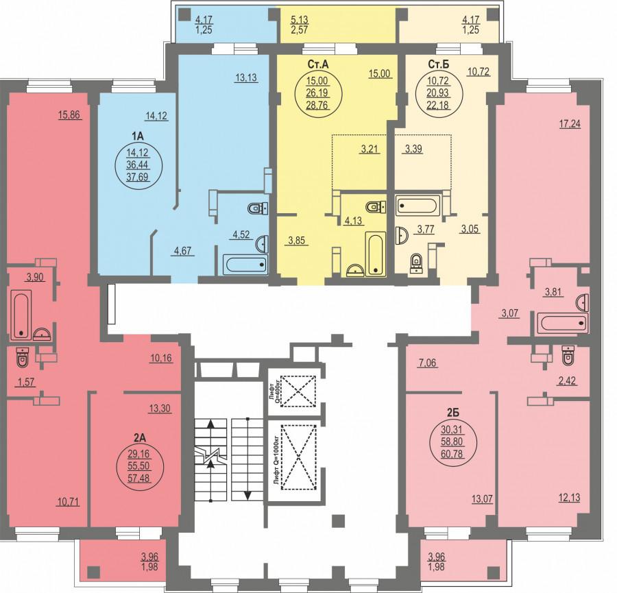 1-я секция, типовой этаж (планировка).