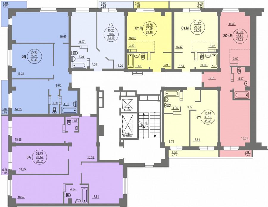 3-я секция, типовой этаж (планировка).