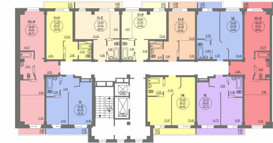 4-я секция, типовой этаж (планировка).