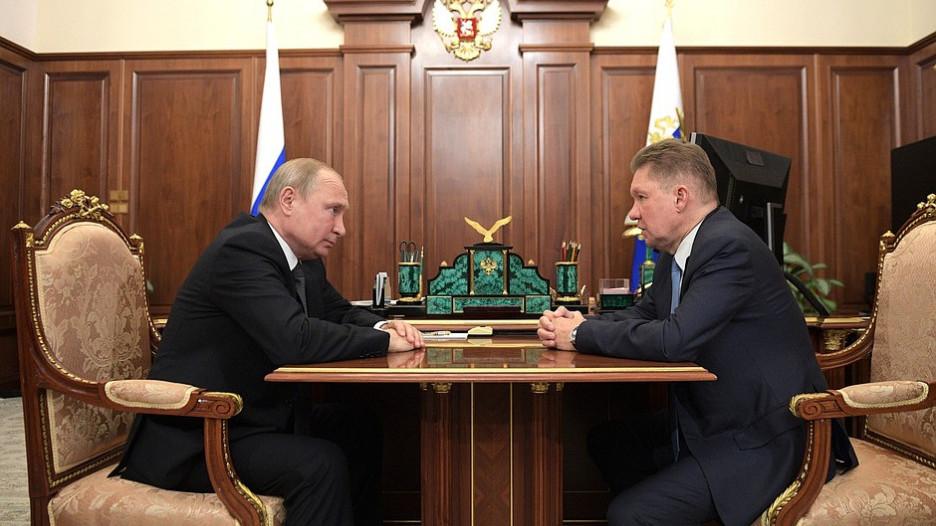 Встреча Владимира Путина и Алексея Миллера.