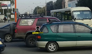 Пробка в центре Барнаула.