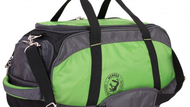 Зеленая спортивная сумка.
