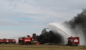 Пожарные учения в Барнаульском аэропорту.