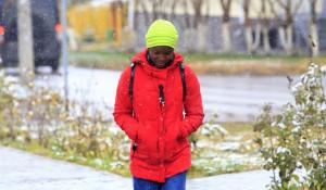 Первый снег в Барнауле.