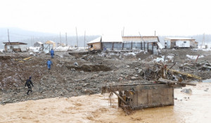 Разрушенная дамба в Красноярском крае
