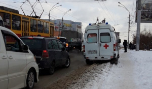 ДТП на путепроводе в районе Нового рынка.