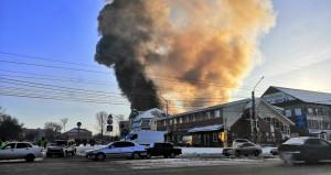 Пожар в производственном цехе в Бийске.