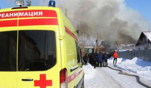 Крупный пожар в Барнауле.
