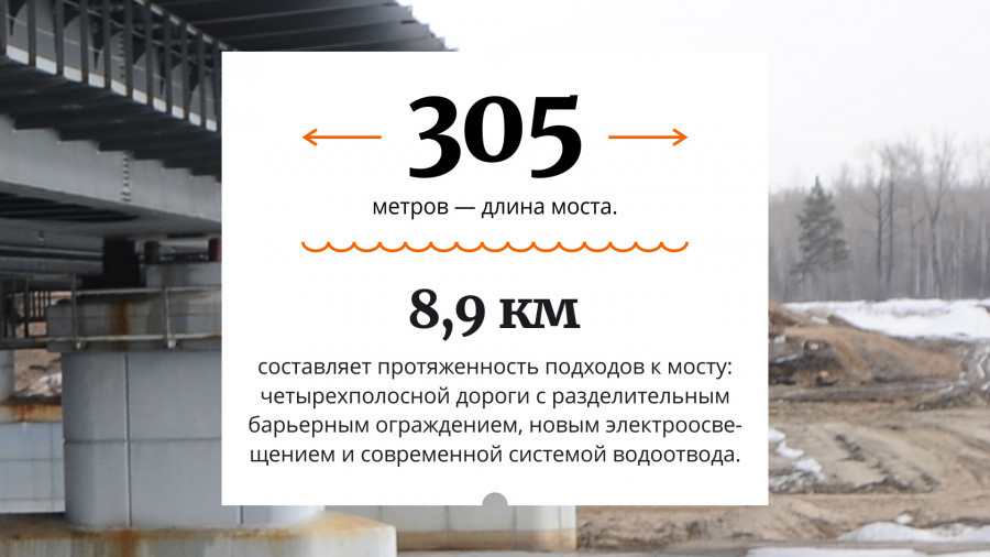 Мост через Чумыш в инфографике.