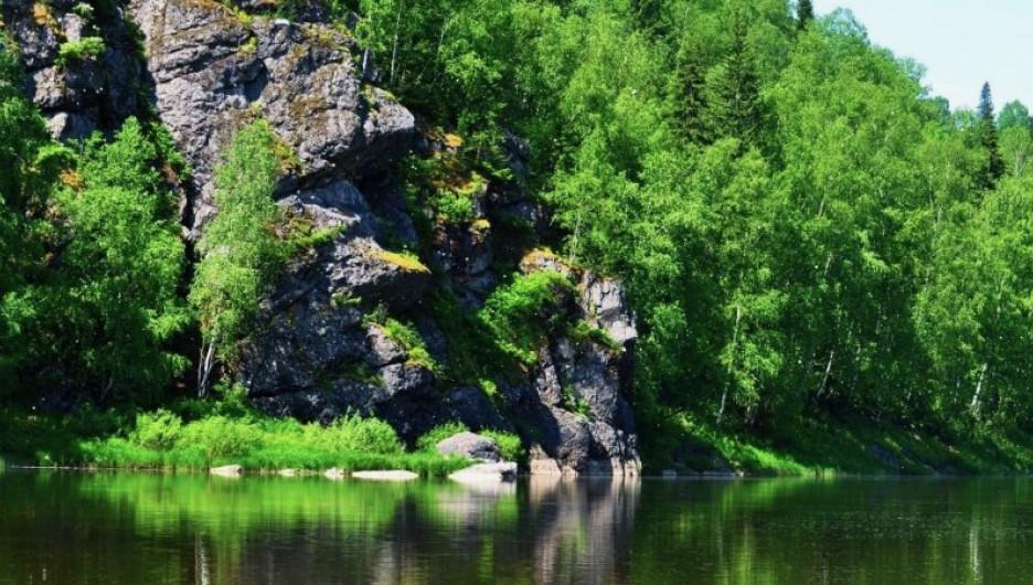 """На территории будущего нацпарка """"Тогул"""". Скалы на реке Чумыш на Салаире."""