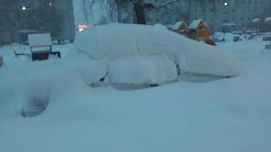 Снежный шторм в Белокурихе.