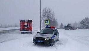 Перекрытие дороги, снегопад.