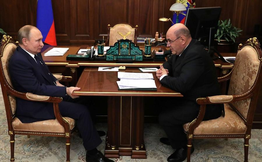 Владимир Путин и кандидат в председатели правительства Михаил Мишустин.