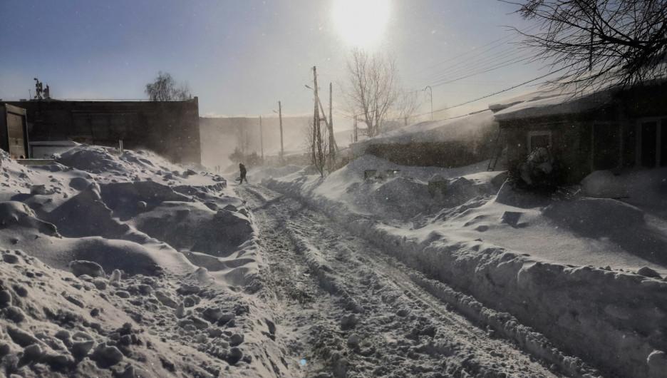 Барнаул после снежной бури 18 января 2020 года.