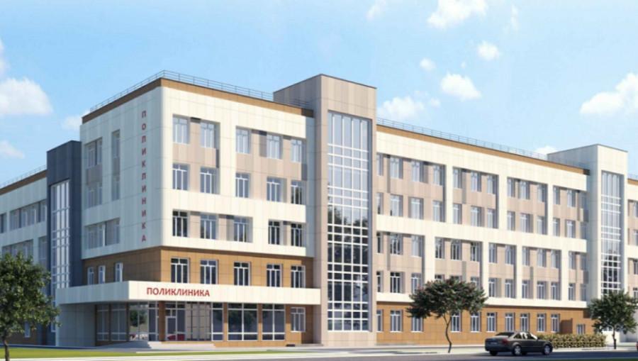 Будущая поликлиника в квартале 2002а в Барнауле.