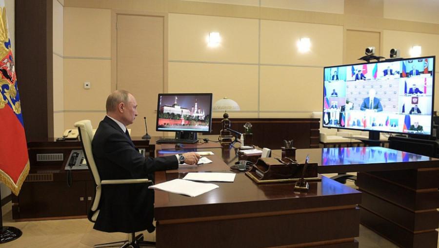 Совещание Путина с главами регионов по борьбе с коронавирусом.