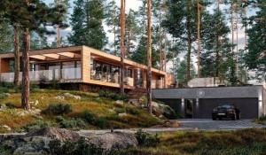Высокотехнологичный дом из натурального дерева.