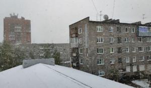 Снегопад в Братске 14 мая.