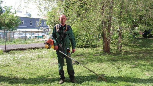 В Барнауле косят траву.