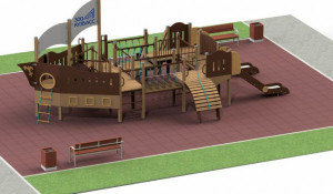 Детская площадка в виде корабля в Кузбассе.